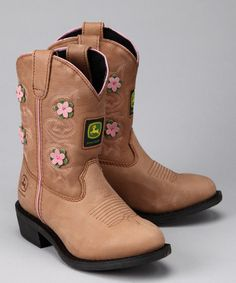 Take a look at this Kids Tan & Pink Floral Wellington Cowboy Boot by John Deere on #zulily today!