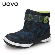 UOVO 2018 New Winter Boots Kids Warm Shoes Brand Fashion Winter Shoes Boys  and Girls Snow Boots Toddler Velvet Shoes Size 702bbc0e7e87