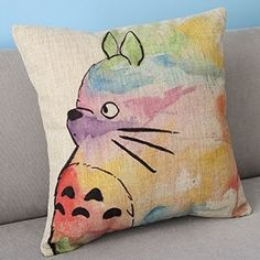 Hand-Painted Totoro Linen Pillow | 47 Insanely Adorable Studio Ghibli Items You Need Immediately