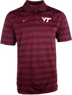 Be sure to grab the Nike NCAA Preseason polo shirt, featuring Dri-FIT technology and professional golf styling. With contrast stripes and a raised Virginia Tech Hokies logo at the chest, you might get mistaken for an assistant coach. Polo collar Pullover style