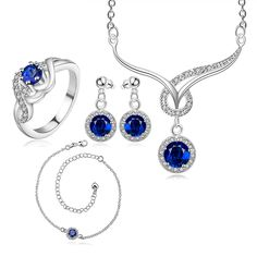 18K White Gold Necklace, Earring, Ring and Ankle Sapphire Set 5
