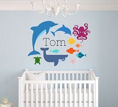 Custom Name Sea Animals Theme -Octopus Whale Dolphin Fish and Turtle - Baby Boy / Girl - Wall Decal Nursery For Home Bedroom Children Wide x Height) * Read more at the image link. (This is an affiliate link and I receive a commission for the sales)