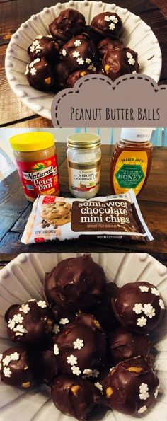 Clean Eating Peanut Butter Balls using only 4 ingredients - peanut butter, honey, coconut oil, and chocolate chips #cleaneating #healthytreat #peanutbutter