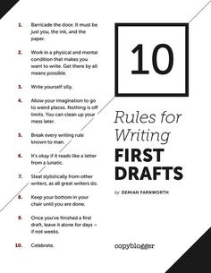 10 Rules for Writing First Drafts -- #9 is the hardest to obey, but it's the one I religiously follow. And forget days or weeks, how about months? Find a new project and come back to the new one with fresh eyes.
