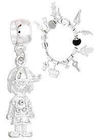 Berloque folheado a prata em forma de menino c/ strass (Pandora inspired)-Clique para maiores detalhes
