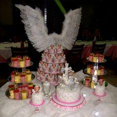 Torta y Decoración Bautizo (Dulces en Shot y Mini Cakes)
