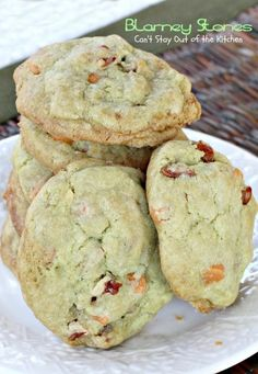 Blarney Stones | Can't Stay Out of the Kitchen | we love these #pistachio flavored #butterscotchchip #cookies. Great for #St.Patrick'sDay. #dessert