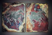 Red/Bronze Raku Glaze  Raku, cone 05  Glaze Material  Percentage  Colemanite50%  Ferro Frit 313450  100%  Add: Tin Oxide5.1%  Copper Carbonate5.6%