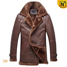 High end brown double breasted mens shearling coats online for sale, thick lamb fur lined interior + quality sheepskin shearling exterior + adjustable buckle the collar! Warmth shearling coats for men all in cwmalls.com!