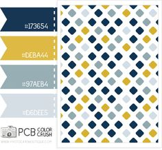Color palette - Golden rod, navy and gray blue