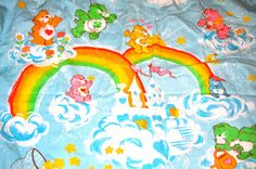 Vintage Care Bear quilt 1983 Twin Crib baby by lostinavalon, $12.00