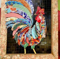 Bottle Cap Art – Farm Rooster No. Mosaic Animals, Mosaic Birds, Butterfly Mosaic, Mosaic Flowers, Mosaic Crafts, Mosaic Projects, Mosaic Ideas, Mosaic Artwork, Mosaic Wall