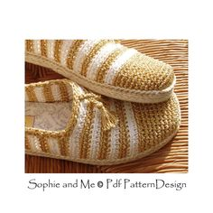 Alpargatas y zapatillas de oro y blancos - Crochet patrones - Pdf de descarga inmediata