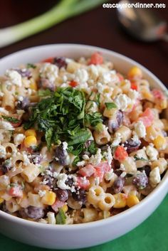 Mexican Pasta Salad Fun twist on pasta salad; I would amp up the flavorings next time (extra cilantro, etc).