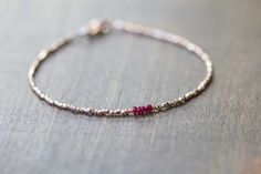 Ultra Delicate Rose Gold Vermeil Bracelet with by MoonLabJewelry