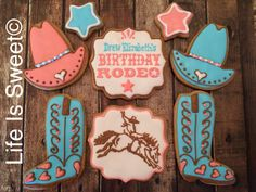 Birthday Rodeo cookies by Life Is Sweet
