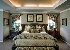 The deep walls and the faux painted ceiling create a very romantic and calming space. See the Before & After pics of this Bedroom By Design Connection, Inc. | Kansas City Interior Design http://designconnectioninc.com/portfolio/bedroom/92 #MasterBedroom #InteriorDesign #BedroomIdeas