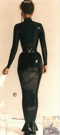 Scan - full body latex glove with a slim corsage and with padlock.