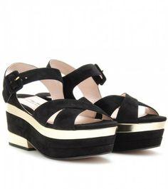 dbbc5a56c19 miu-miu-black-suede-trimmed-platform-sandals Black Suede