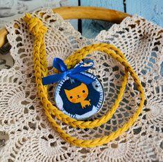 Naszyjnik dziecięcy - Rudy kotek - medalion Straw Bag, Brooch, Earrings, Bags, Jewelry, Fashion, Ear Rings, Handbags, Jewellery Making