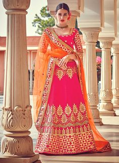 Online shopping for indian lehenga choli in different designs, styles, colors and fabrics. Order now! This elegant embroidered and patch border work a line lehenga choli.