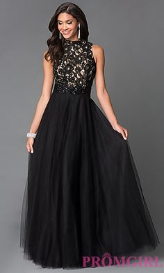 Long Black Chiffon High Neck Sean Prom Dress SN-50824 at PromGirl.com