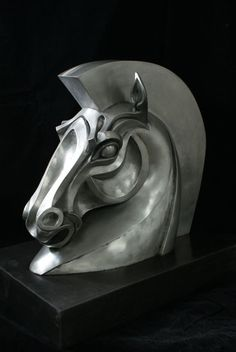 Resin Horse Sculpture / Equines Race Horses Pack HorseCart Horses Plough Horsess sculpture by artist Philip Thompson titled: 'Trojan Horse (resin Horse Bust Head statue)'