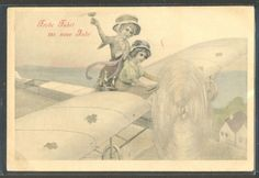 LM145 VIENNE MERE & FILLETTE AVION AEROPLANE CHAMPAGNE AIRPLANE MOTHER  DAUGHTER