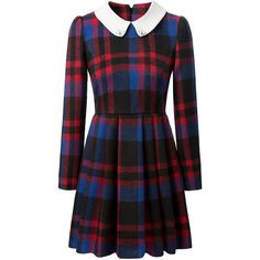 Tartan Plaid Peter Pan Collar Mini Dress ($32) ❤ liked on Polyvore featuring dresses, vestidos, white, plaid dress, tartan dress, pleated dress, long sleeve print dress and long sleeve dresses
