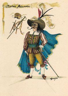 """Capitan Matamoros La figura del militare è presente fin dalle origini nella Commedia dell'Arte, sia nel suo ruolo """"serio"""" come Capitan Spaventa, sia nel suo ruolo buffonesco, come nel caso di Matamoros. L'origine di questo ruolo del Capitano risale al """"Miles Gloriosus"""" di Plauto e ai numerosi soldati di ventura che percorrevano il territorio italiano. Vile e vanaglorioso, Matamoros vanta imprese coraggiose inesistenti, parlando in modo esagerato e roboante, per nascondere la sua vera natura."""