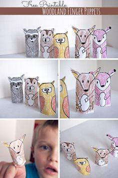 Free Printable Woodland Animal Finger Puppets! #kidscrafts