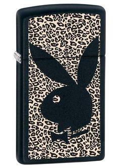 Lighters - Zippo Slim Playboy Black Matte Lighter - Oxemize.com