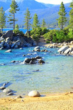Lake Tahoe - looks like Secret Beach? Just south of Sand Harbor on the Nevada shore, perhaps.