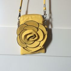Yellow mini purse Yellow purse with flower Bags Mini Bags