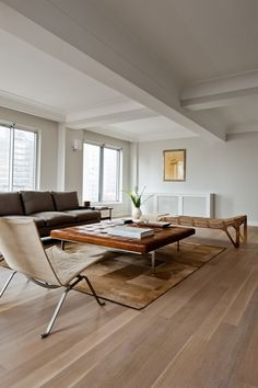 white oak floors Living Room Contemporary with none