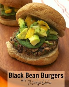 Black Bean Burgers with Mango Salsa + Cooking Light Cookbook Giveaway Bean Recipes, Burger Recipes, Vegetarian Recipes, Healthy Recipes, Skinny Recipes, Cooking Light, What's Cooking, Cooking Time, Grilled Fruit