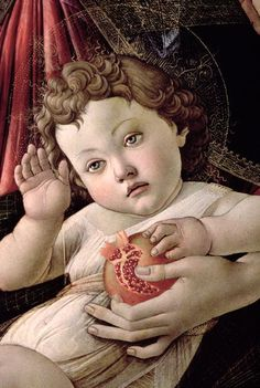Detail of the Christ Child, 'The Madonna of the Pomegranate' (15th century) by Early Renaissance Italian painter Sandro Botticelli (1445-1510). Tempera on wood. via Artflakes