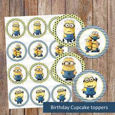 Printable minion cupcake toppers,party favors,Birthday cupcake toppers,minion cupcake toppers,party decor,stickers,minion theme by handnheartdesigns2 on Etsy
