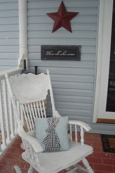 Rocking chair on the porch - I love this!! Picking up the chair tomorrow at the Sally