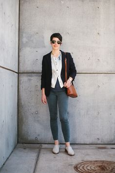 Jacket - ANN MASHBURN Top - MEGAN HUNTZ Tee - J.CREW Pants - J. CREW Shoes - MIISTA Sunglasses - RED'S OUTFITTERS Bag - grandmother's, COACH  Watch - father's, OMEGA  Necklace - grandmother's  Photography- ALLIE HINE / Styling- MOLLY WEBB, THE SPIN STYLE AGENCY