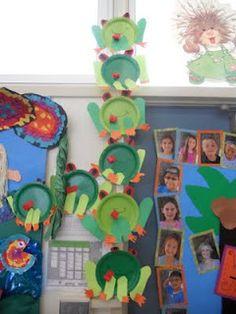 Karneval basteln mit Kindern unter 3 Papptellern - Teacher Bits and Bobs: Regenwald-Wahnsin. Rainforest Preschool, Rainforest Frog, Rainforest Classroom, Rainforest Theme, Preschool Activities, Rainforest Crafts, Rainforest Project, Preschool Projects, Amazon Rainforest