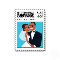 African American Stamps | African-American Wedding Postage Stamp Floral Peacock Black Save The ...