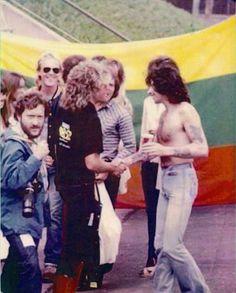 Bon Scott shaking has with Sammy Hagar! Sammy Hagar, Bon Scott, Ac Dc, Music Icon, My Music, Backstage, Red Rocker, Famous Pictures, Angus Young