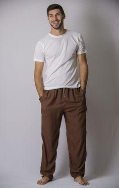 Solid Color Drawstring Men's Yoga Massage Pants in Brown – Harem Pants