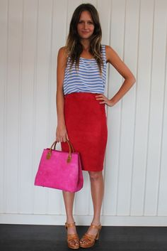 Pencil Suede Skirt - Pink & Red / south of the border