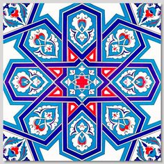 Continuous 4 piece pattern Wall Tiles for kitchen or bathroom Ceramic Wall Tiles, Tile Art, Mosaic Tiles, Ceramic Art, Islamic Art Pattern, Arabic Pattern, Pattern Art, Turkish Art, Turkish Tiles