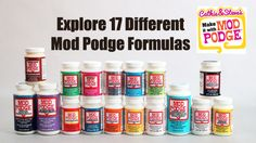 Your Guide to All 17 Varieties of Mod Podge. A quick how-to guide for using mod modge in all your craft projects. From Matte, to Glitter, to Glow-in-the-dark, Cathie and Steve break it down!