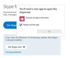 """Miért kap a hiba """"Szükséged lesz egy új alkalmazást megnyitni ezt skypeuwp""""?"""