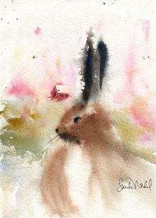 Bunnies are one of favorite critters.  Love this watercolor by Linda Nadel...