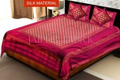 Magenta Rajasthani Zari Embroidered Lace Work Silk Double Bed Sheet